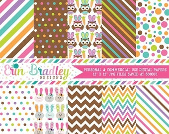 50% OFF SALE Easter Digital Papers Bunnies Owls Colorful Polka Dots & Stripes Holiday Digital Printable Paper Pack Instant Download