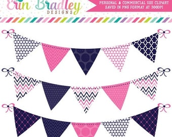 50% OFF SALE Blue and Hot Pink Commercial Use Clip Art Bunting Graphics Polka Dotted Chevron Striped