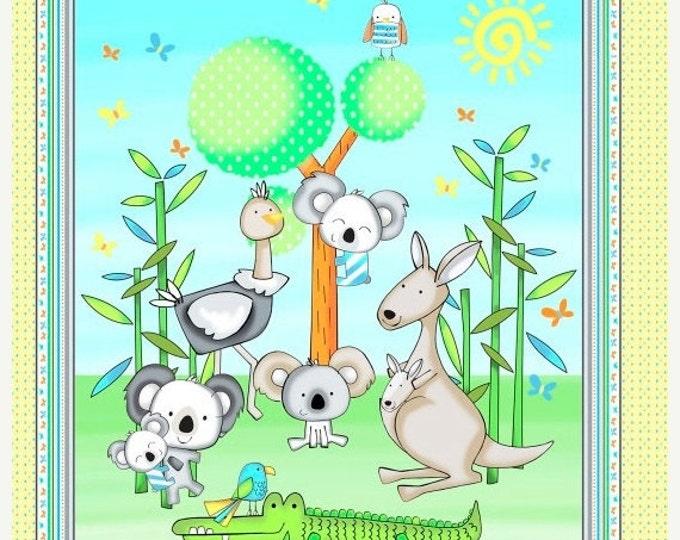 On Sale Koala Party Koala Bear Panel, Crocodiles and Parrots by Studio E 24 x 44