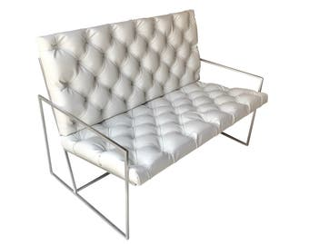 White Sofa Loveseat White Tufted Chair Upholstered Tufted Faux Leather Living Room Furniture Bedroom Furniture Modern Furniture White Chair