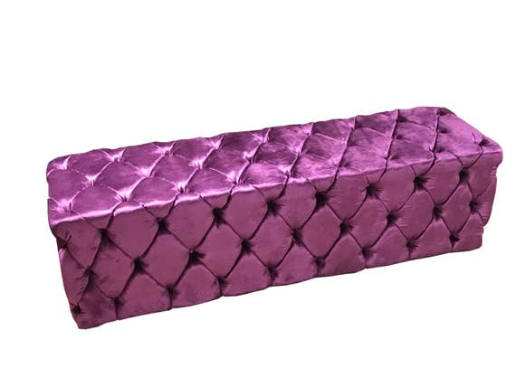 Tufted Bed Bench Upholstered Bench Purple Velvet Bench Side