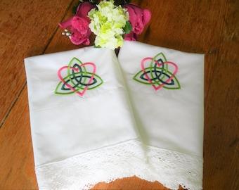 NOS Celtic Knotwork Pillowcases, Irish Pillowcases, Trinity Knot Pillowcases, Celtic Design, Irish Design,  Pillowcases,  Machine Embroidery