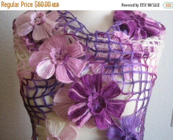 holiday sale Lacy Shawl, scarf, wrap, purple shades, fancy,hand crocheted, sooooooo beauiful, new