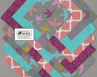 """40~4"""" Teal_Raspberry_Peach Birds Fabric Squares/Quilt/Craft/Sewing/Charm Packs #0882"""