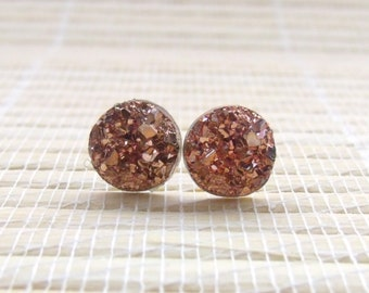 Rose Gold Druzy Faux Studs Gold Plated 10mm