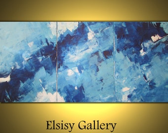 Original abstract palette knife painting wall art deco by Elsisy US shipping. Sale