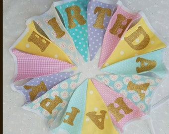 Happy Birthday Bunting - Birthday Banner - Pastel Rainbow - Gold Glitter Letters - Celebration Party Photo Prop