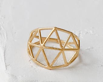 On Sale 20% Off, Structure Ring, Geometric ring, signature ring, Architectural jewelry, statement ring