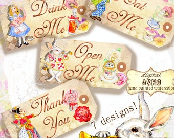 Hand Drawn Alice in Wonderland Gift Tags, Alice in Wonderland Printable Tags, Drink Me, Eat Me, Take Me, Open Me, Alice in Wonderland Decor