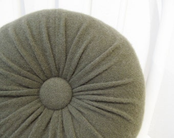 Evergreen Cashmere Round Throw Pillow Dark Green Accent Decorative Couch Cushion Felted Cashmere Wool Pillow Petite Lumbar Pillow  101