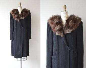 Oppenheim coat | vintage 1930s coat | raccoon fur and wool 30s coat