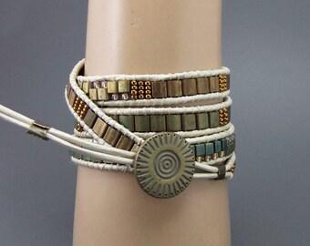 Iris Sea Green Bronze Tila Bead Leather 4xWrap Bracelet, Handmade, Ladder Bracelet, Ivory Leather Cord, Boho Chic