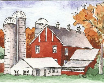 """ACEO print of original watercolor """"Down On The Farm II"""""""