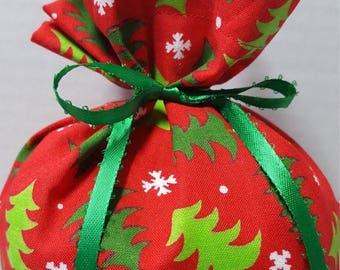 ON SALE Christmas Fabric Gift Bag Green Trees Snowflakes on Red