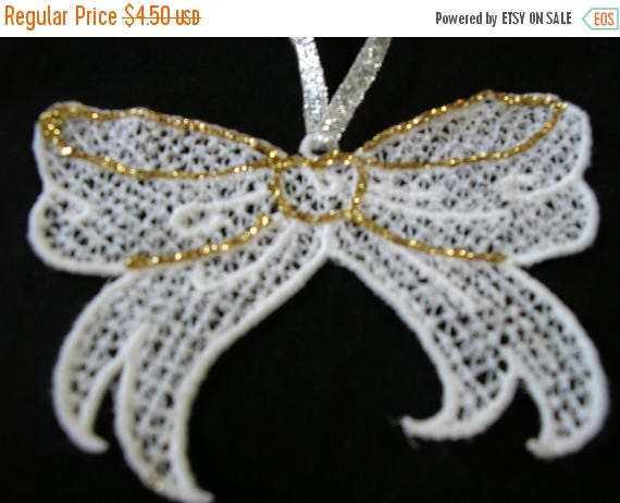 50% OFF SALE Christmas Tree Ornament Lace Bow White or Gift Bag Decoration