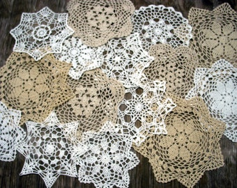 """lot of 15 Hand Crochet Doily 7""""-8""""-9""""-11"""" RD for Cottage/Victorian/Shabby/Boho/French Style,Tea Party, Vintage Wedding"""