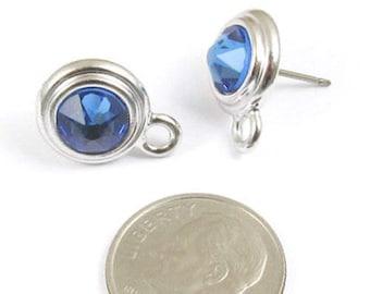 September Swarovski Crystal Birthstone Earring Posts-SAPPHIRE & SILVER-1 Pair