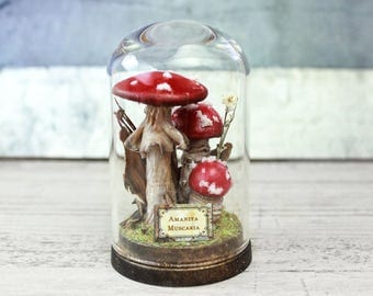Mushrooms Miniature Decor - Fungi Terrarium - Mini Glass Dome Display - Amanita Muscaria - 2.75 x 1.73 inches / 7 x 4,4 cm