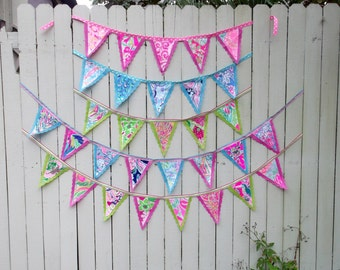 Preppy Colorful Lilly Pulitzer Fabric Bunting Flag Banner Swag