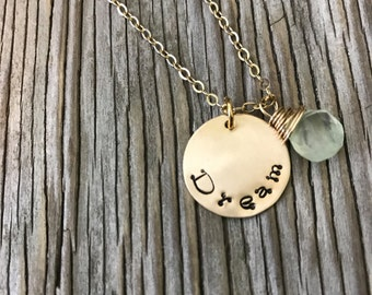 Hand stamped charm 3/4 inch gold fill charm necklace dream- ready to ship with lemon quartz wire wrapped drop