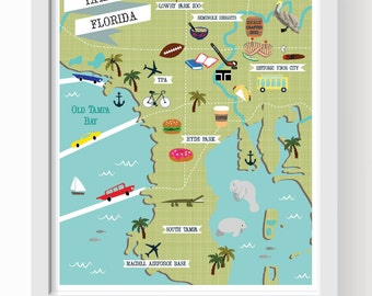 Tampa Map Art, Tampa Wall Decor, Modern Map Illustration, Tampa Bay Art,  Tampa City Map, Tampa Decor, Tampa Wall Art, Tampa Florida