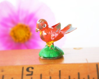 """Vintage Micro Miniature 7/16th"""" Wood Love Red Bird with Chippy Paint Bird on stand, Tiny bird Painted Wood Mini figurine made in Italy 1950"""