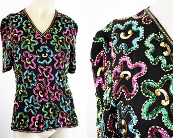 Vintage Stenay Rainbow Color Sequin and Bead Trophy Short Sleeve Fitted Zip Back Woman's Retro Blouse