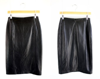 Vintage Black Leather Long Knee Length Slim Woman's Retro Pencil Skirt