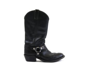Size 7: Vintage Double H Black Leather Silver Harness Classic Woman's Retro Moto Boots