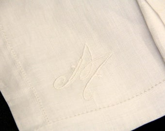 """4 Linen Napkins with Embroidered with """"M"""""""