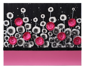 Teen Girl Bedroom Decor Art Painting of Hot Pink and Black Flowers on Canvas - Small 20x16