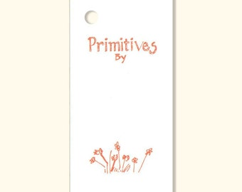 50  ~ PRIMITIVES By ~ Hang Tags, Price Tags, for Gifts & Crafts+Strings ~Rustic Design~ Tie on Tags~Cinnamon Brown Print /Cream Cardstock