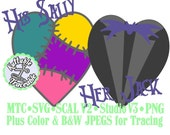 Jack & Sally Valentine Heart Set #03 Haunted Mansion  Cut Files MTC SVG SCAL and more File Format