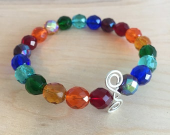Rainbow Czech Glass and Sterling Silver Beaded Bangle Bracelet