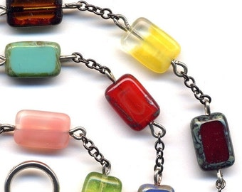SALE Multicolor Czech Necklace , Necklace With Unique Czech Beads, ooak necklace, Mod Jewelry, handmade Jewelry by AnnaArt72