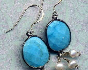 SALE Turquoise and Pearls Sterling Earrings, Sleeping Beauty Turquoise earrings, Sterling Silver Turquoise Earrings, Handmade Jewelry by Ann
