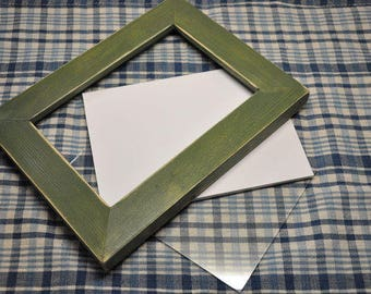 8x10 Picture Frame Green Stained Distressed with Glass Backing and Mounting Hardware