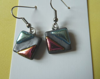 Hypo-Allergenic Pewter Coloured Dichroic Glass Drop Earrings with Surgical Steel Ear Wires