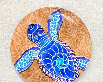Blue Baby Turtle Glass Ornament & Suncatcher, Sea Turtles, Baby Turtles