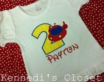 Custom monogrammed Little Einstein Rocket embroidery applique birthday shirt