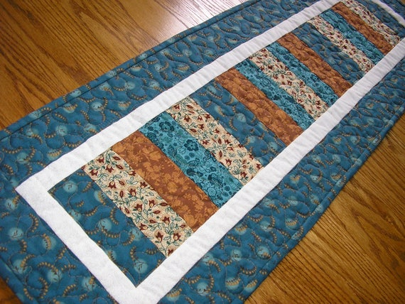 Quilted Table Runner Stacked Coins In Teal And Brown 13 X