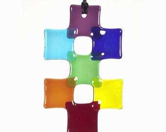 Rainbow chakra 'double-cross' fused-glass suncatcher
