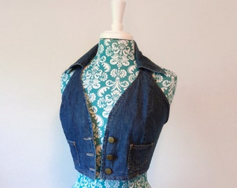 Vintage 1960's cropped vest // denim crop top // 60's boho denim
