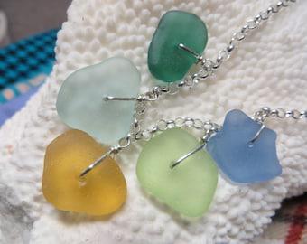 Pastel colors genuine sea glass  beach glass and sterling silver necklace Teal  aqua sea glass orange sea glass sea foam beachglass