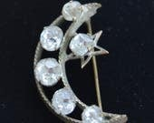 On sale Pretty Antique Victorian Rhinestone Moon, Star Crescent Brooch, Brass (O8)