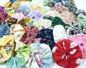 50 Handmade YoYos, 2 Inch YoYos, Cotton Fabric, Multi Colored YoYos, Sewing Supplies, Craft Supplies, Appliques, Embellishments, Pinwheels