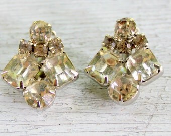 Clip On Rhinestone Earrings Vintage 1950s