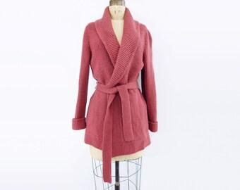 70s Vintage Cardigan Dusty Rose Cardigan 70s Wool Cardigan 70s Wool Sweater 1970s Wool Sweater Rose Pink Cardigan Wrap Style Cardigan M