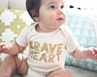 Braveheart - hand printed organic valentines day baby bodysuit