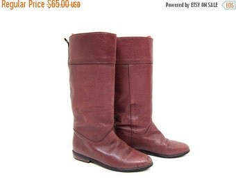 Vintage Tall Leather Boots PURPLE Mauve Mid Calf Fall Boots Slouchy Equestrian boots Eddie Bauer 80s 90s Leather Riding Boots Womens Size 8